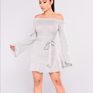 Nara Grey Off Shoulder Sweater Dress